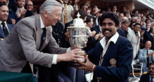 Kapil Dev lifting World Cup 1983