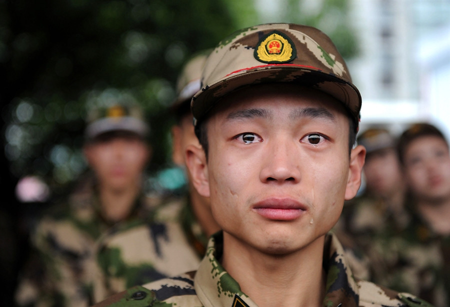 young soldier crying