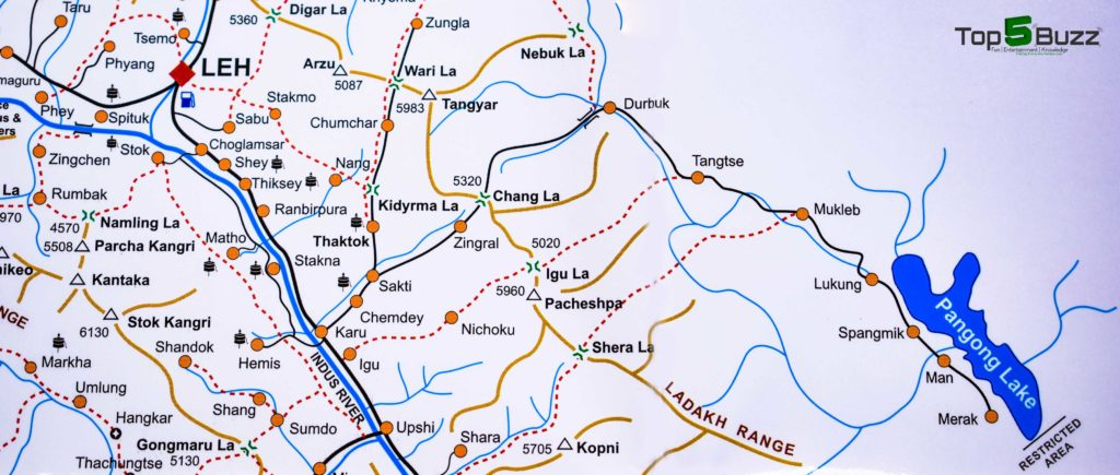 road map leh to pangong lake