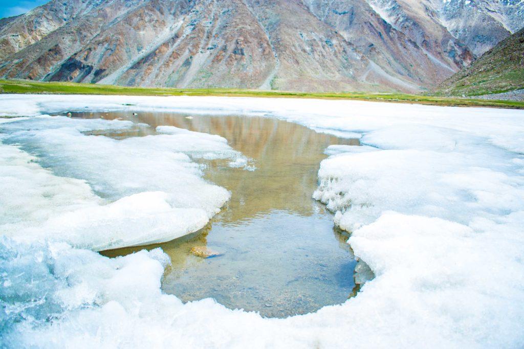 snow field near chang la