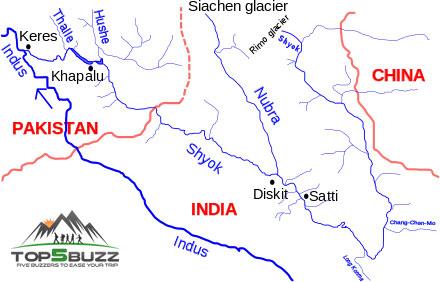 siachen trekking map