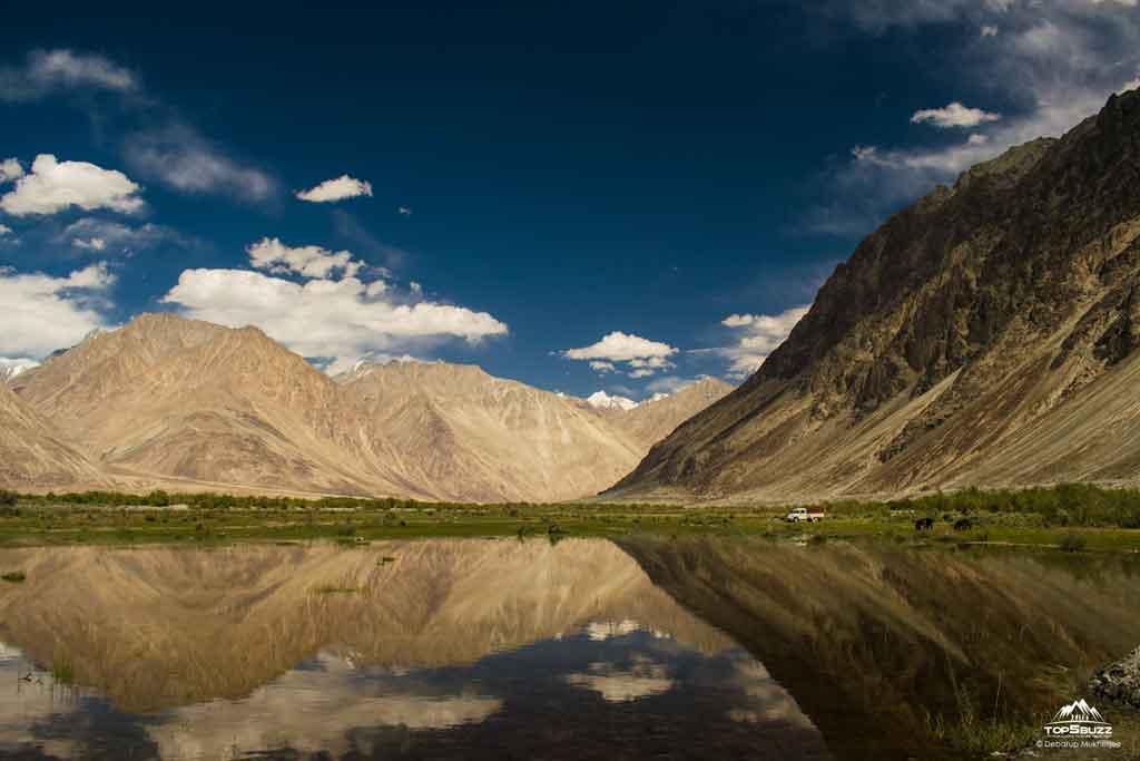 Nubra lake reflection