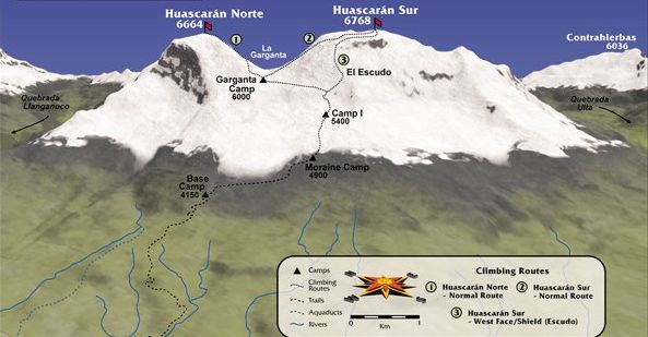 huascaran trekking route map