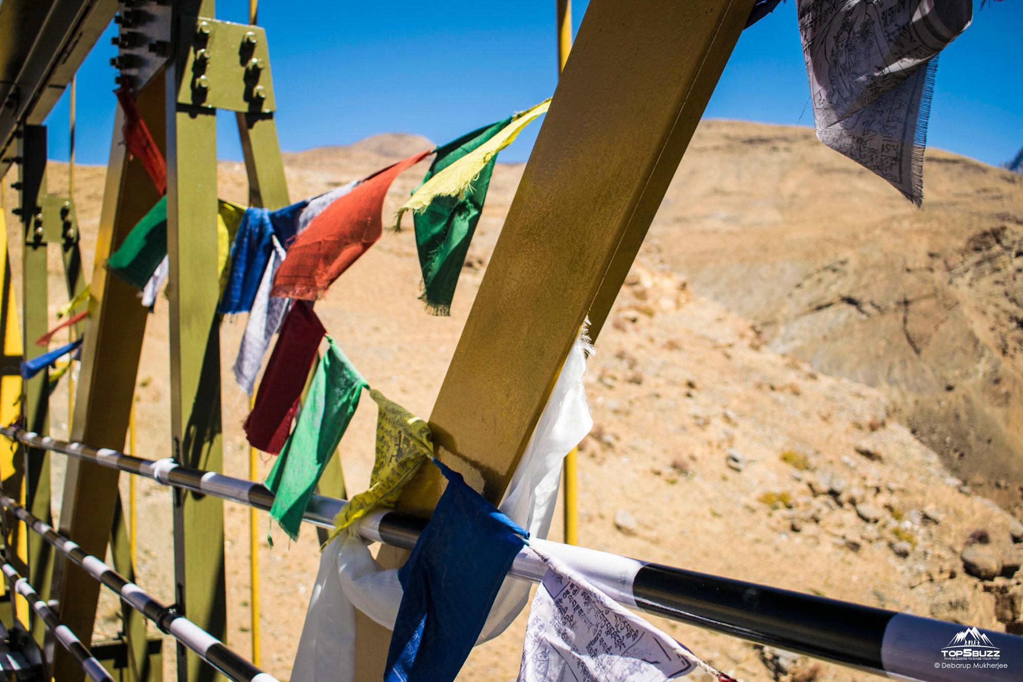 Kibber Chicham Bridge with prayer flags