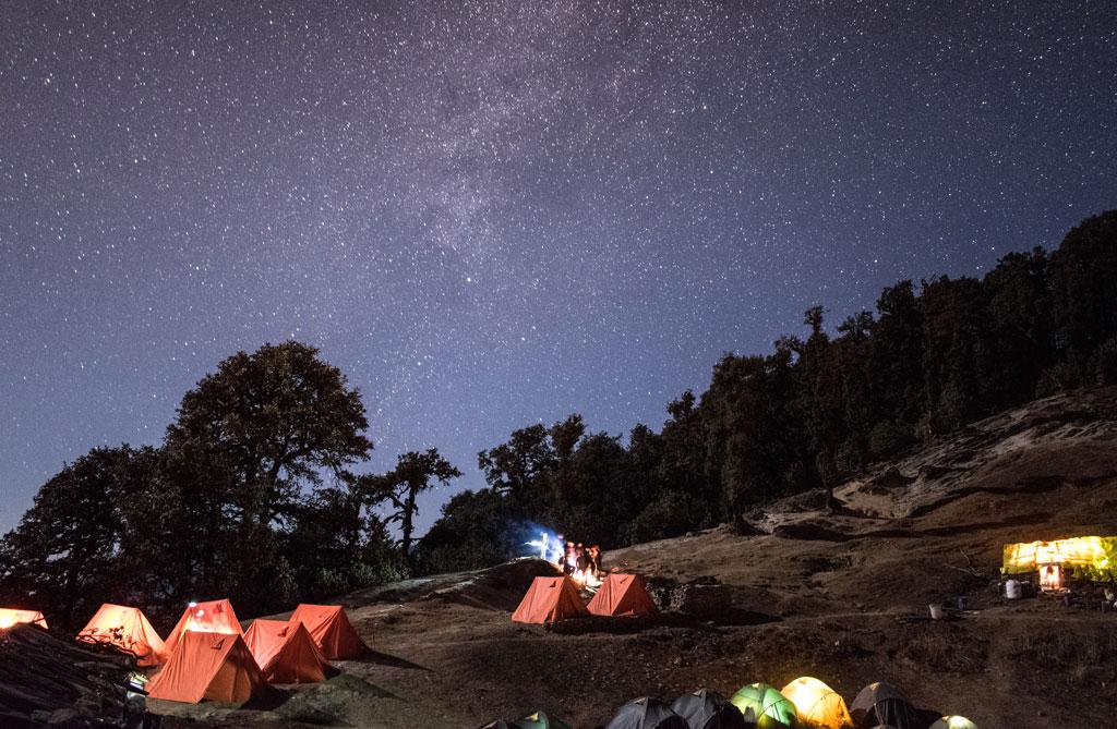 Night sky photo during Brahmatal trek