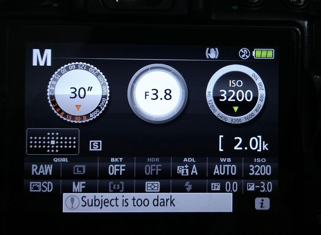 night sky star camera settings